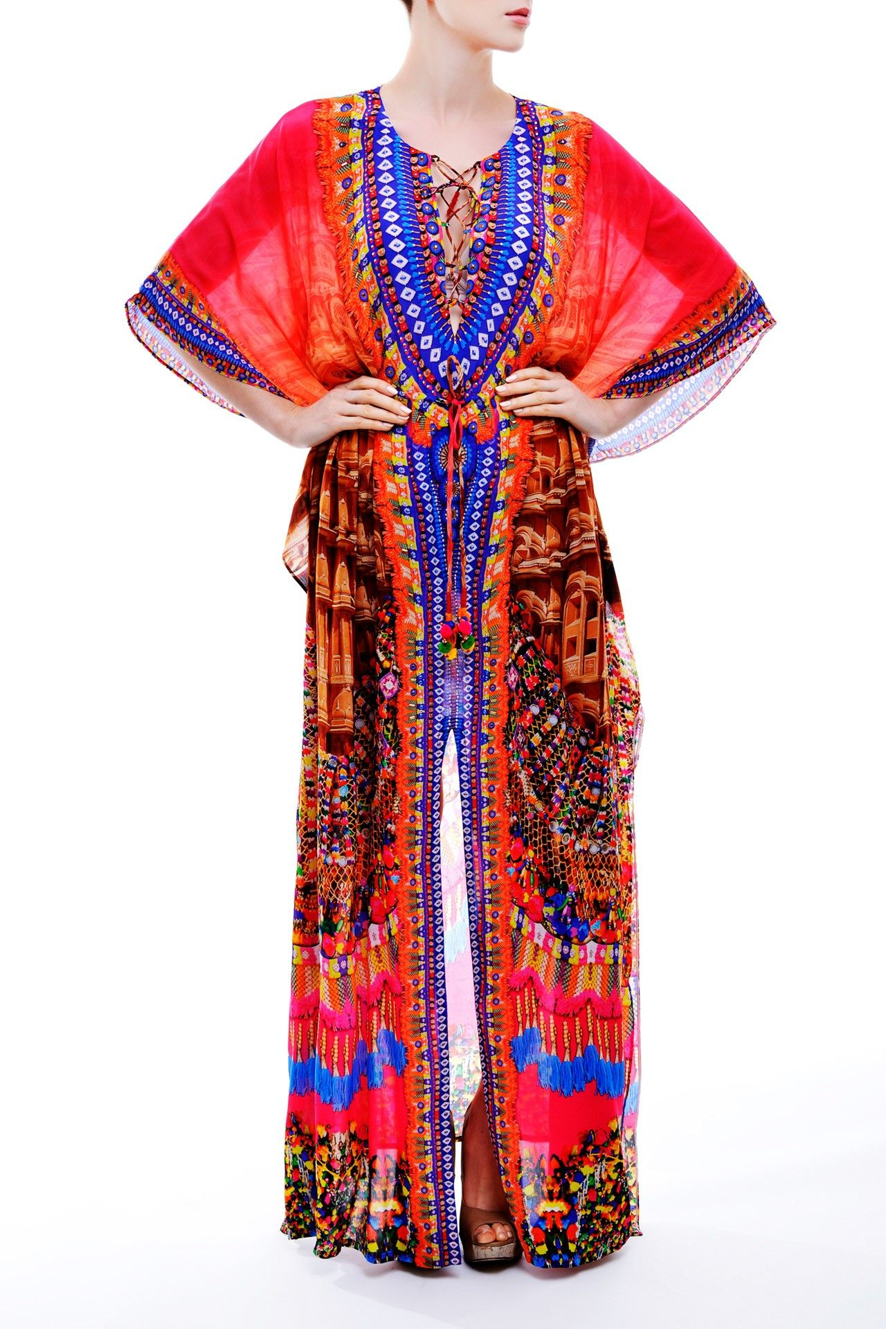 Fuchsia vneck kaftan dress in tribal print pinterest long