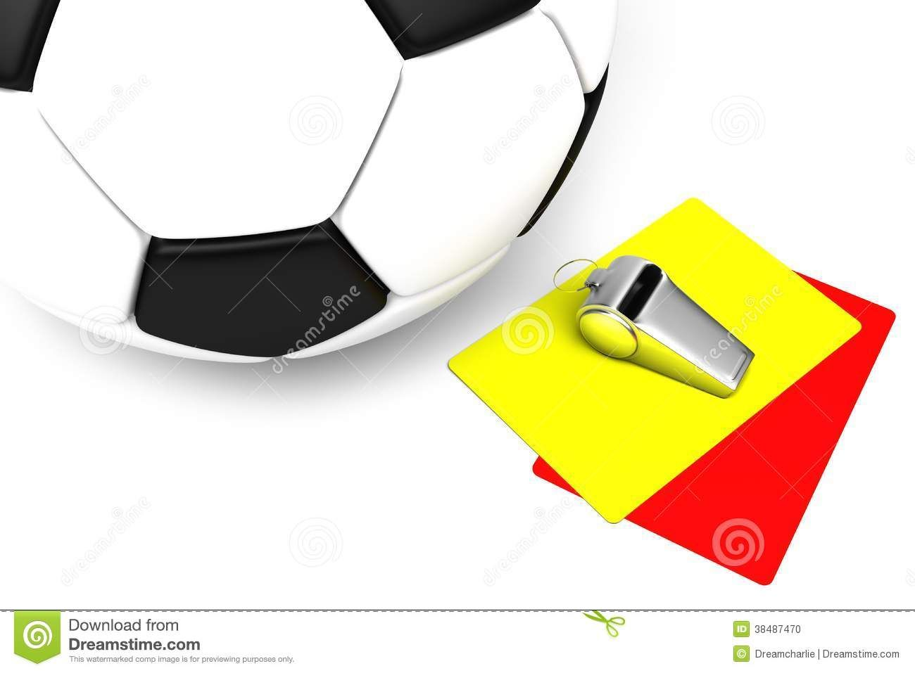 Attributes Of A Football Referee Yellow And Red Cards A Whistle And A Football On A White Background Description From Dre Football Referee Referee Football