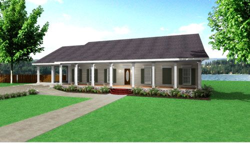 the big creek house plan 8227 perfect rectangle good layout simple roof - Rectangle House Plans
