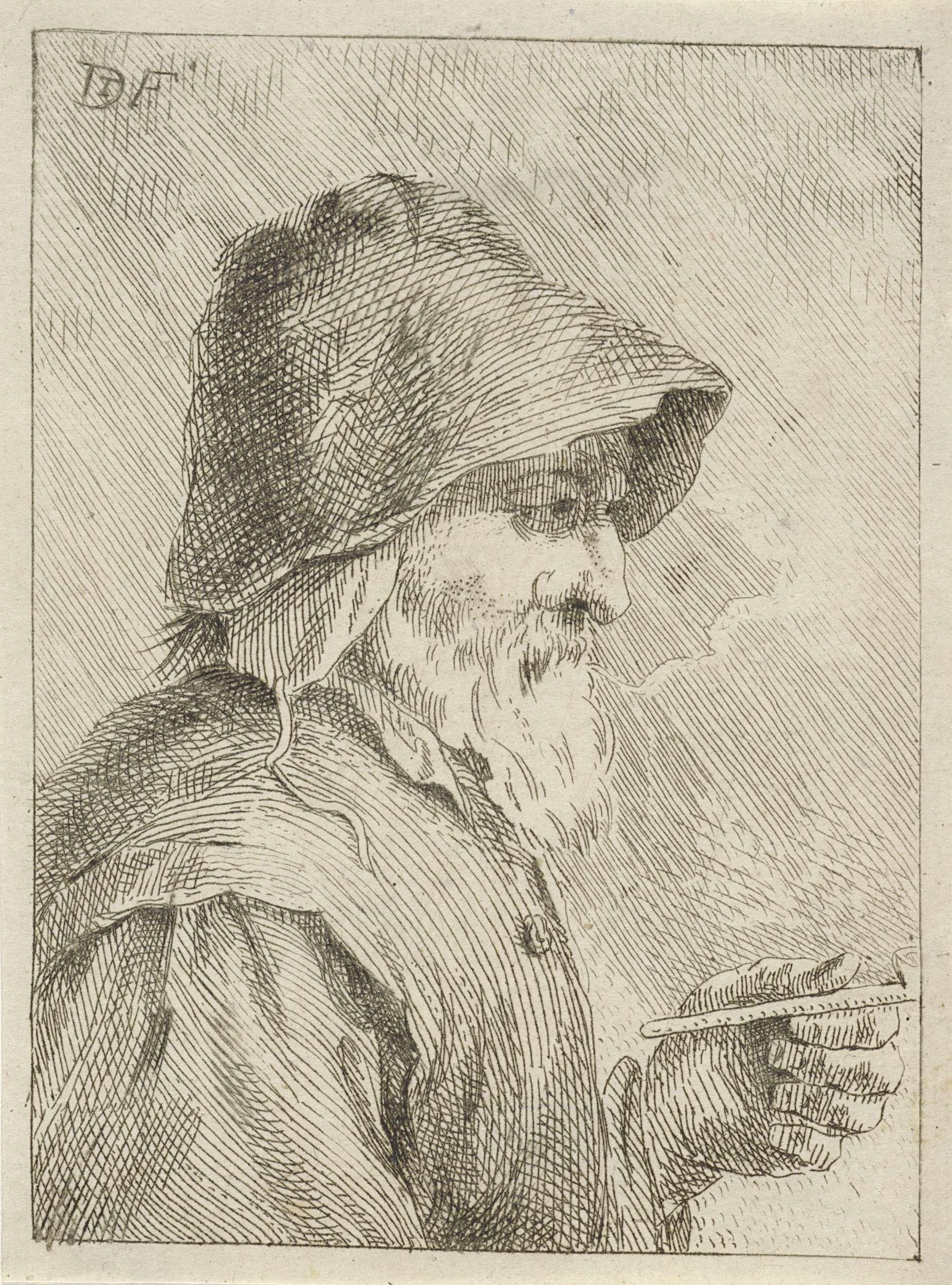 anoniem   Oude man met baard en een pijp in zijn hand, attributed to ...