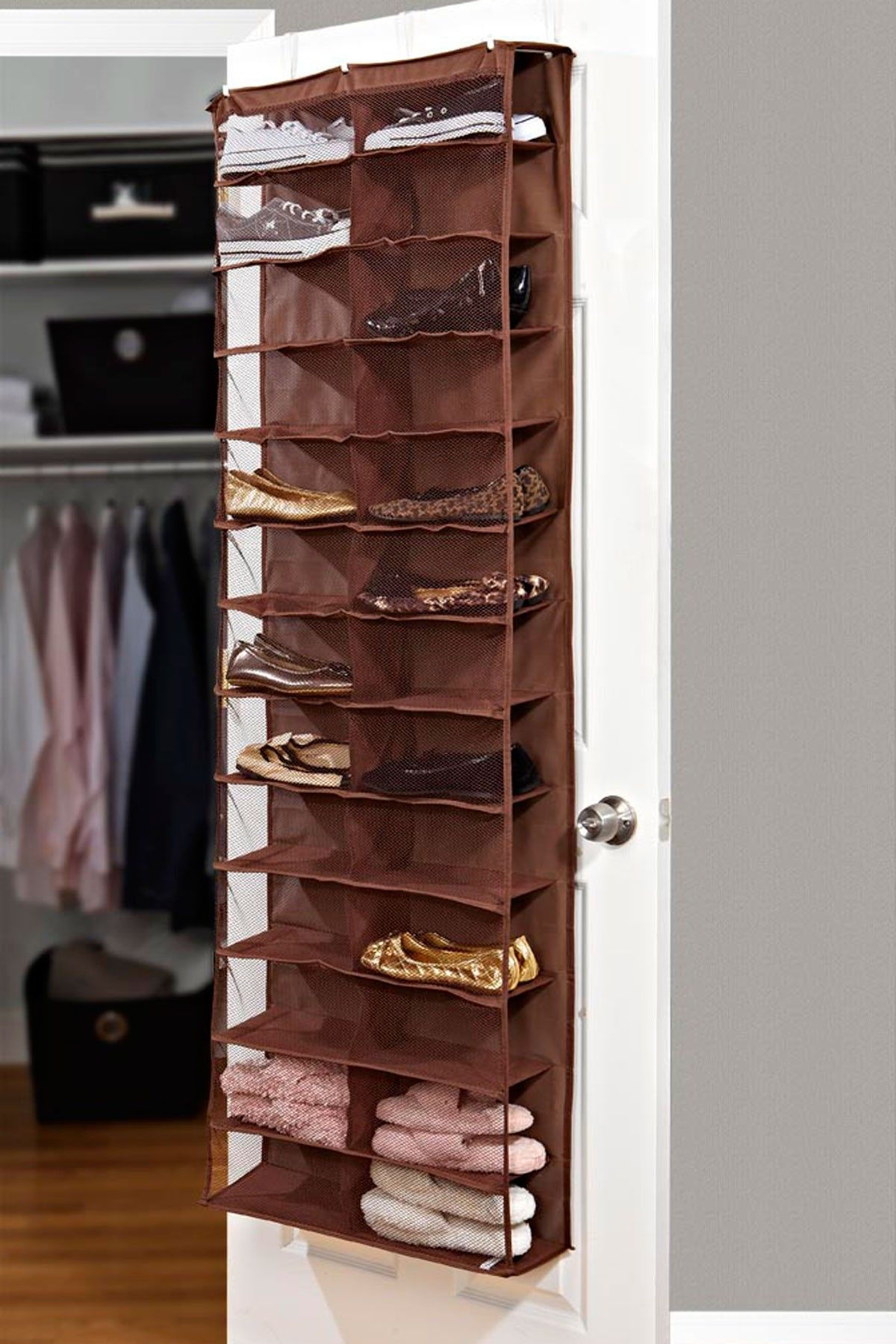 26 Pocket Over the Door Shoe Organizer Chocolate