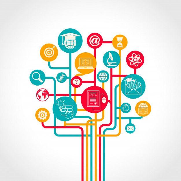 Онлайн концепция образования дерева с и  Free Vector