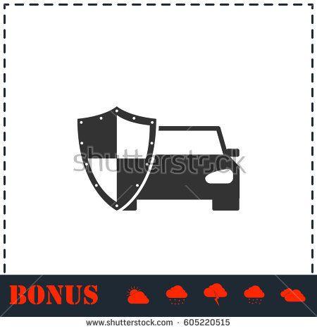 Car Insurance Icon Flat Simple Vector Symbol And Bonus Icon Logo