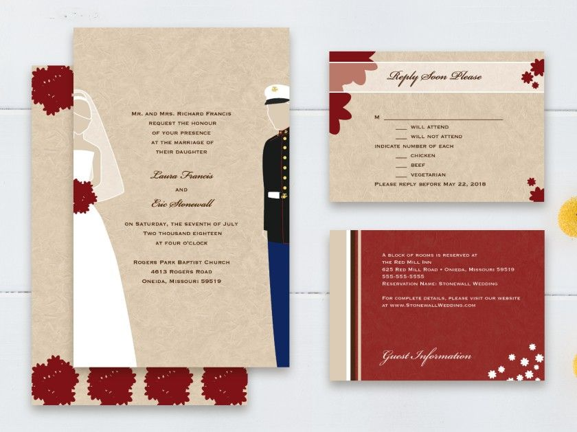 Military Themed - Marines (USMC) - Rectangle Wedding Invitation by ...