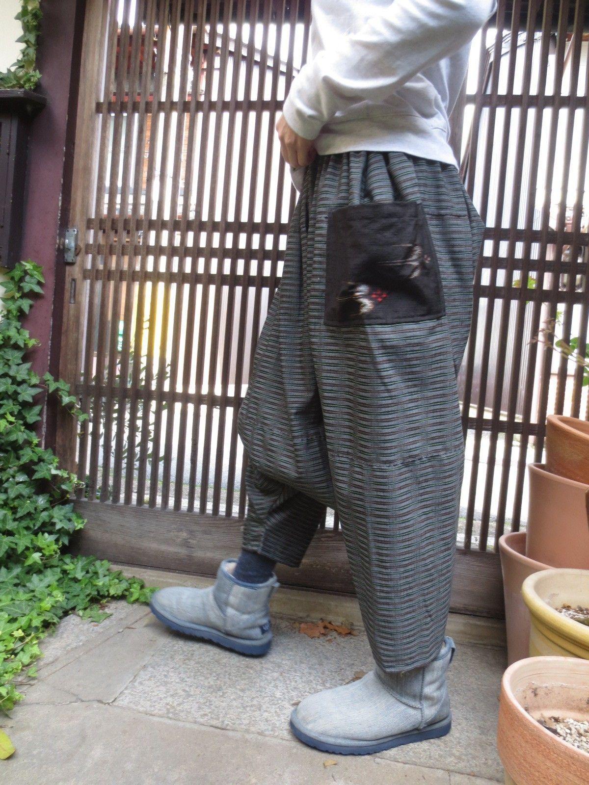 着物リメイク☆縞織り紬を横向きに接いで…男前なおしゃれサルエルパンツ♪脇丈85㎝の画像6枚目