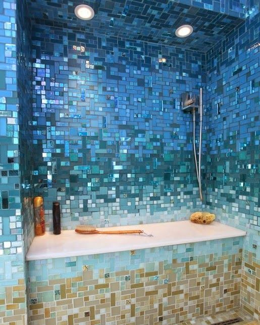 Wild under the sea theme bathroom achieved with tiles: http://www.completely-coastal.com/2014/10/under-the-sea-rooms.html