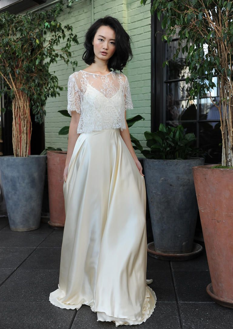Ivory silk and lace wedding dress  Sarah Sevenus Fall  Wedding Dress Collection Keeps It Carefree
