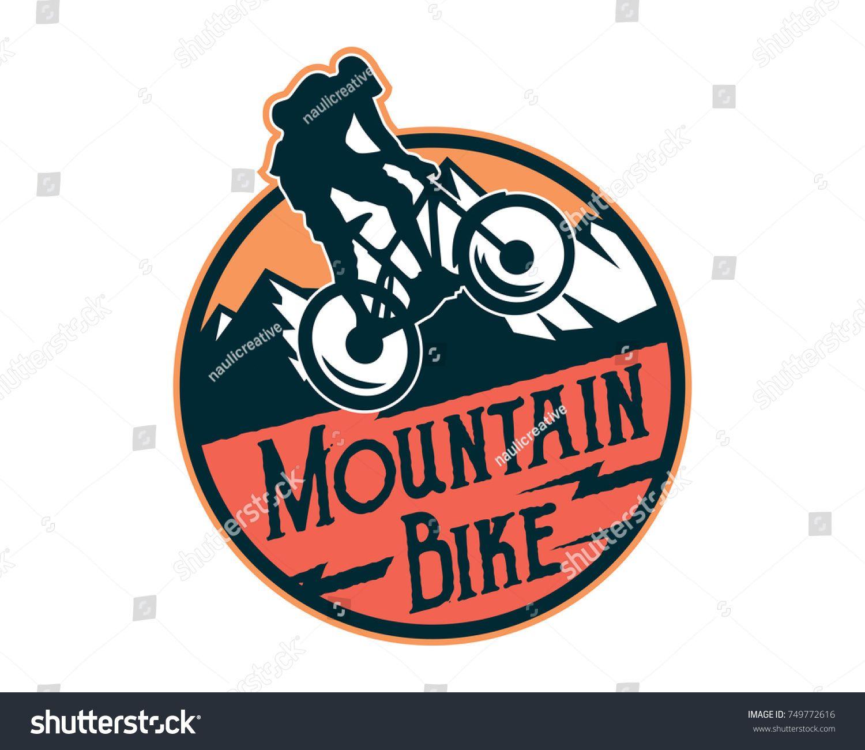 Vintage Downhill Bike Logo Badge Illustration Ad ,