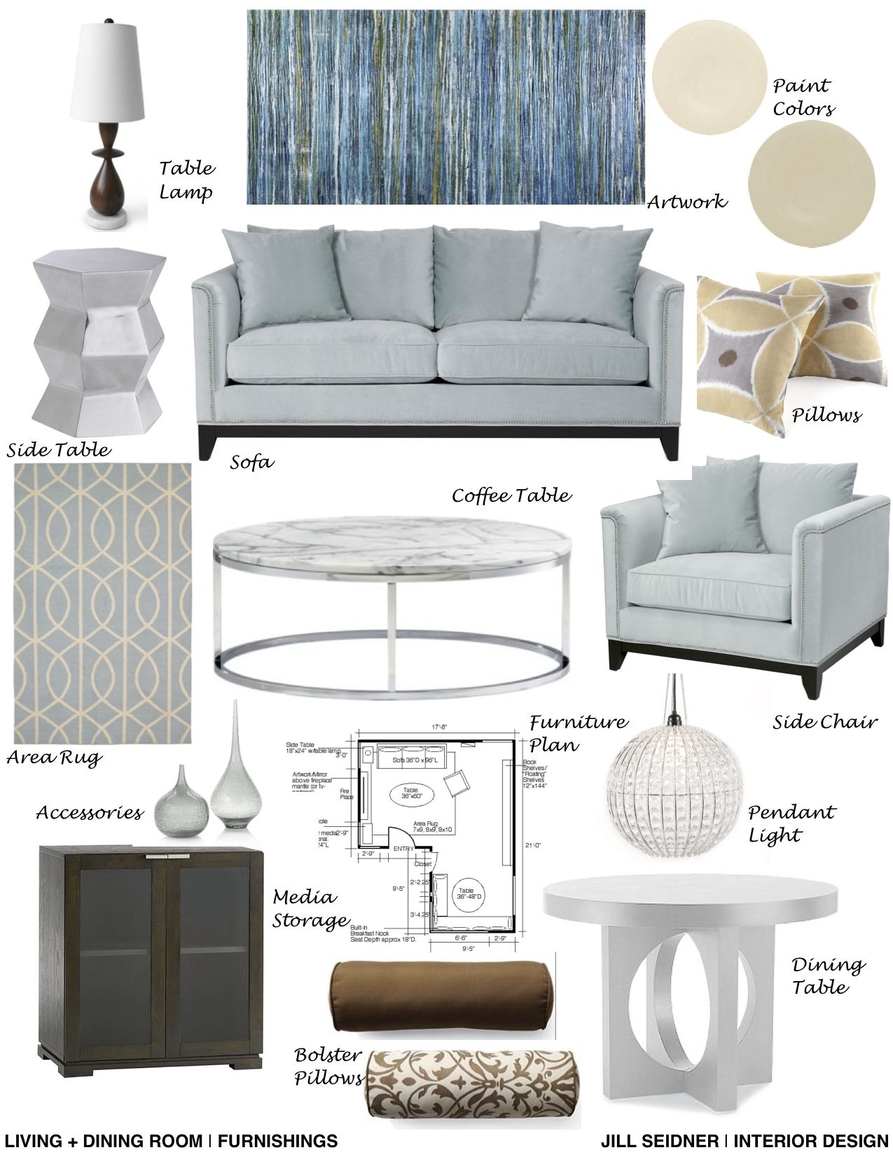 Living room furnishings concept board jill seidner for Room design concept