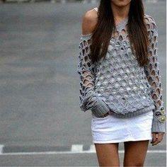 Crochet Net Sweater - Diagram Pattern ♡ Teresa Restegui http://www.pinterest.com/teretegui/ ♡