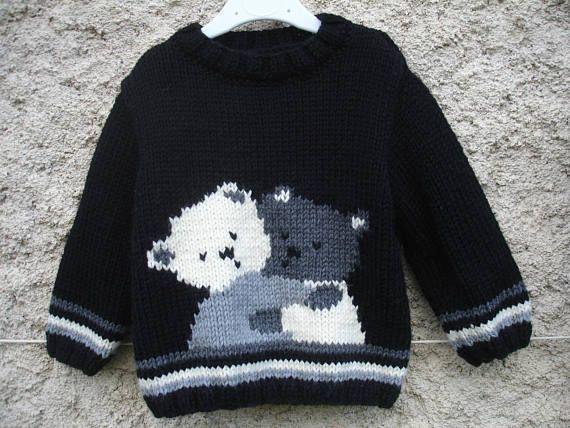 Pull bébé et enfant nounours enlacés de 1 an à 6 ans fait main #babyteddybear
