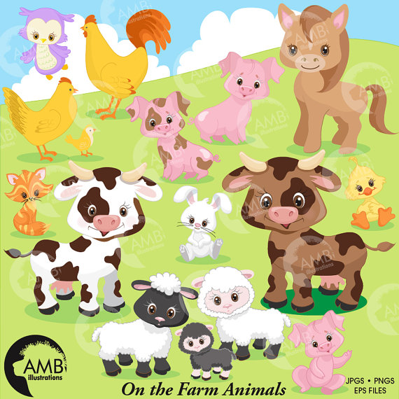 80OFF Farm Clipart Animals Sheep Barn Cow Rooster And More AMB 1492