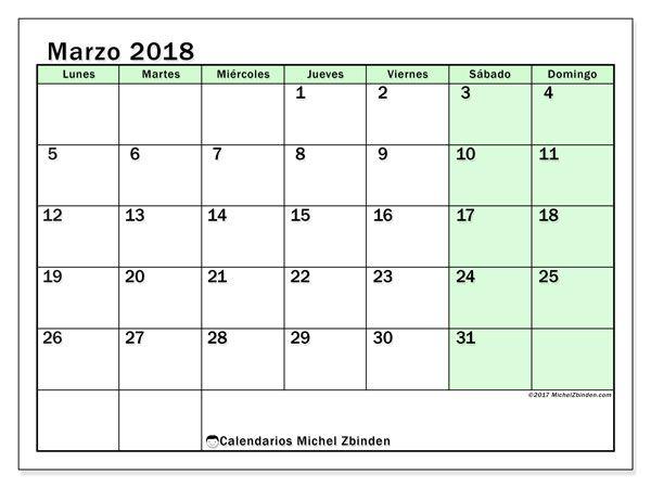 Calendario marzo 2018 (60LD)   Imprimir gratis, Calendario para ...