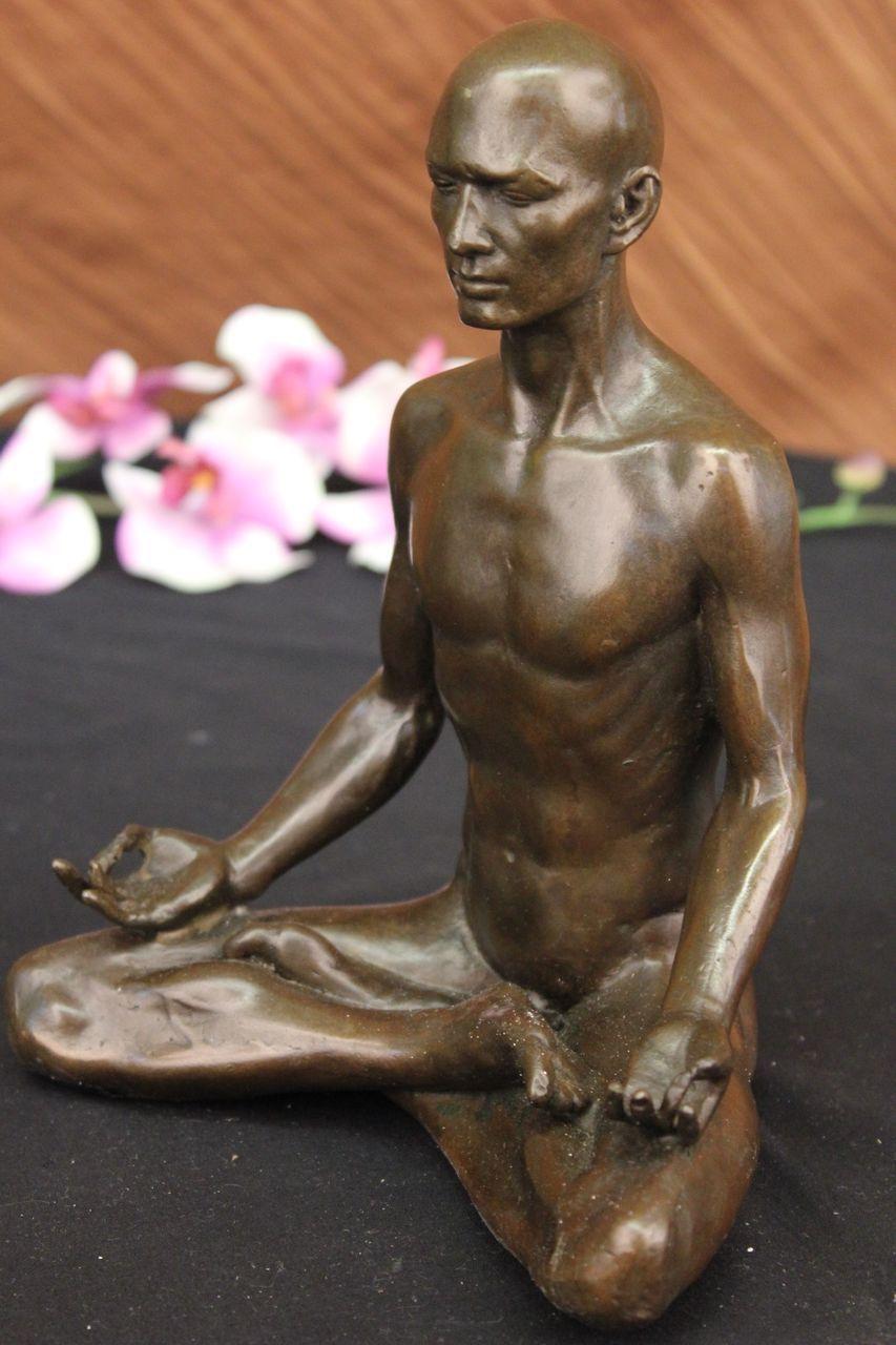 Unique Bronze Marble Statue Sensual Erotic Nude Male Yoga -6268
