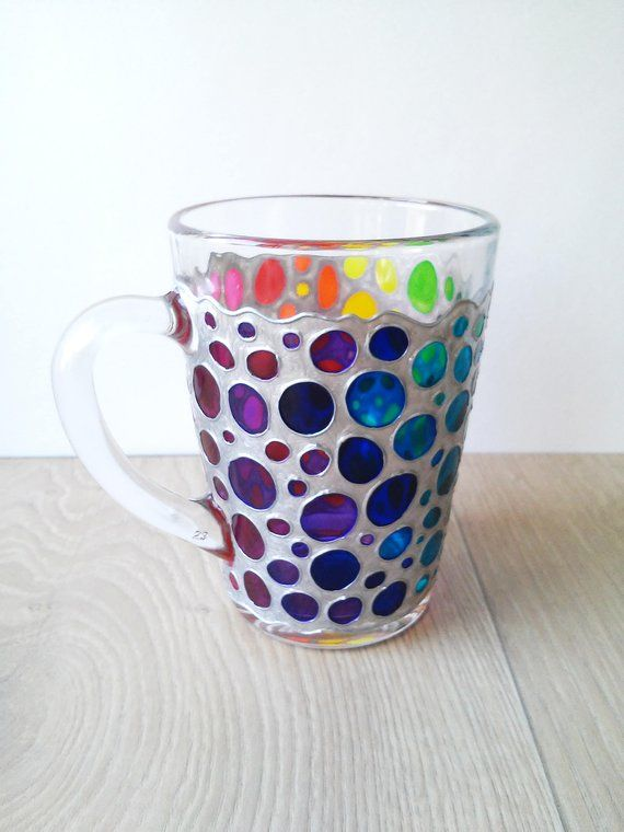 9c4d142f7e6 Rainbow coffee mug, colorful polka dots mug, hand painted glass suncatcher  mug
