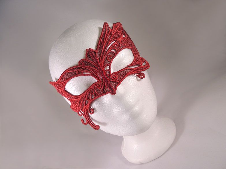 Selfmade red lace mask. Available at my stores:  http://www.etsy.com/shop/NinielChan  www.deaddollsshop.de