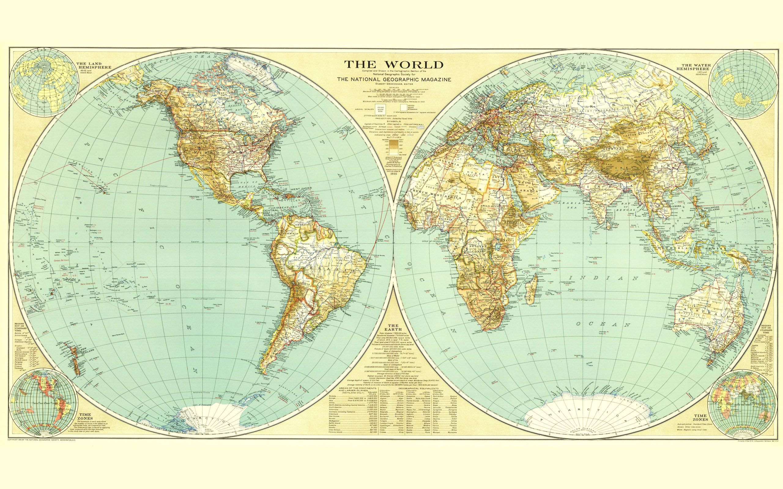 world map 1935 print in the office