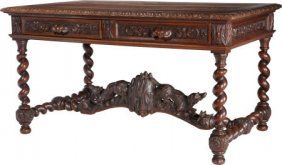 65002: A Continental Baroque-Style Carved Oak Two-Drawe : Lot 65002