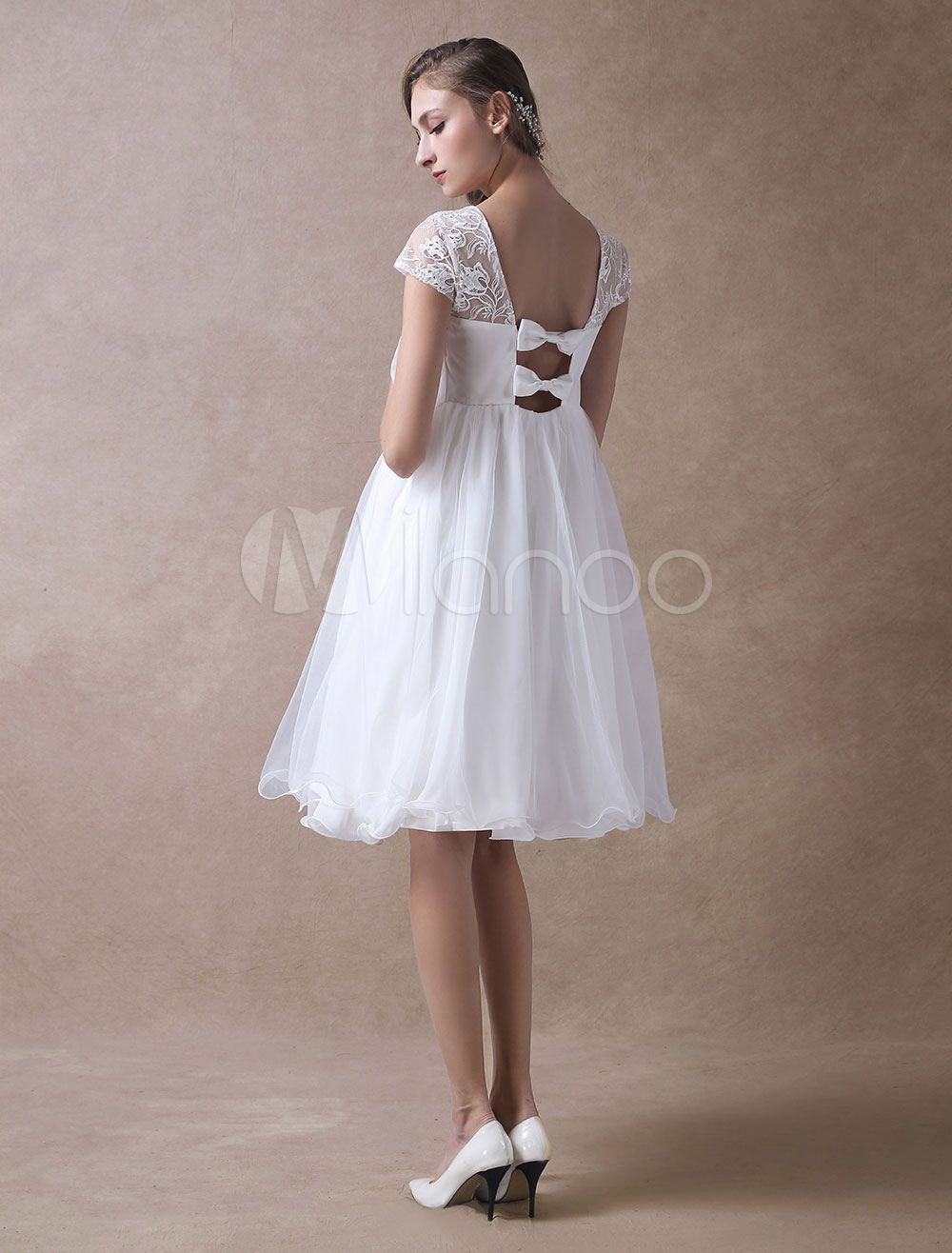 Simple Wedding Dresses Short Empire Waist Lace Tulle Cap