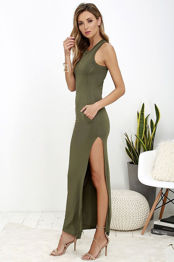 3e0e87dbb72 Don't underestimate the power of a chic dress like the Shield and Sword Olive  Green Sleeveless Maxi Dress! Jersey knit tops a fitted, sleeveless bodice  that ...