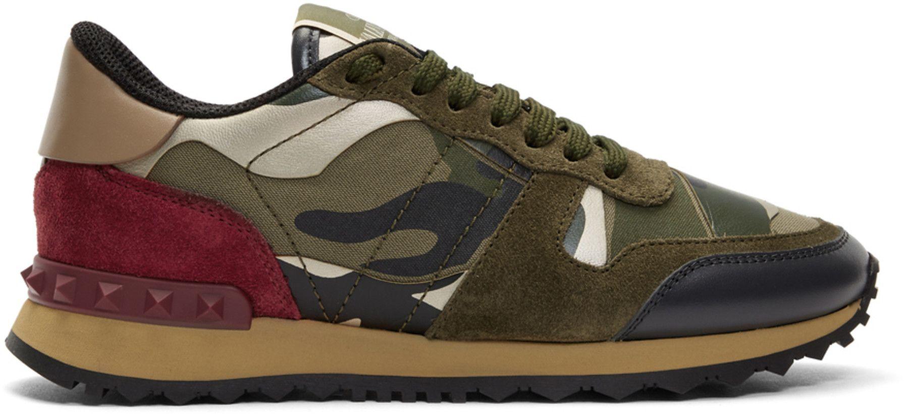 598e4b8bd10c68 Valentino - Green Valentino Garavani Camo Rockstud Runner Sneakers ...