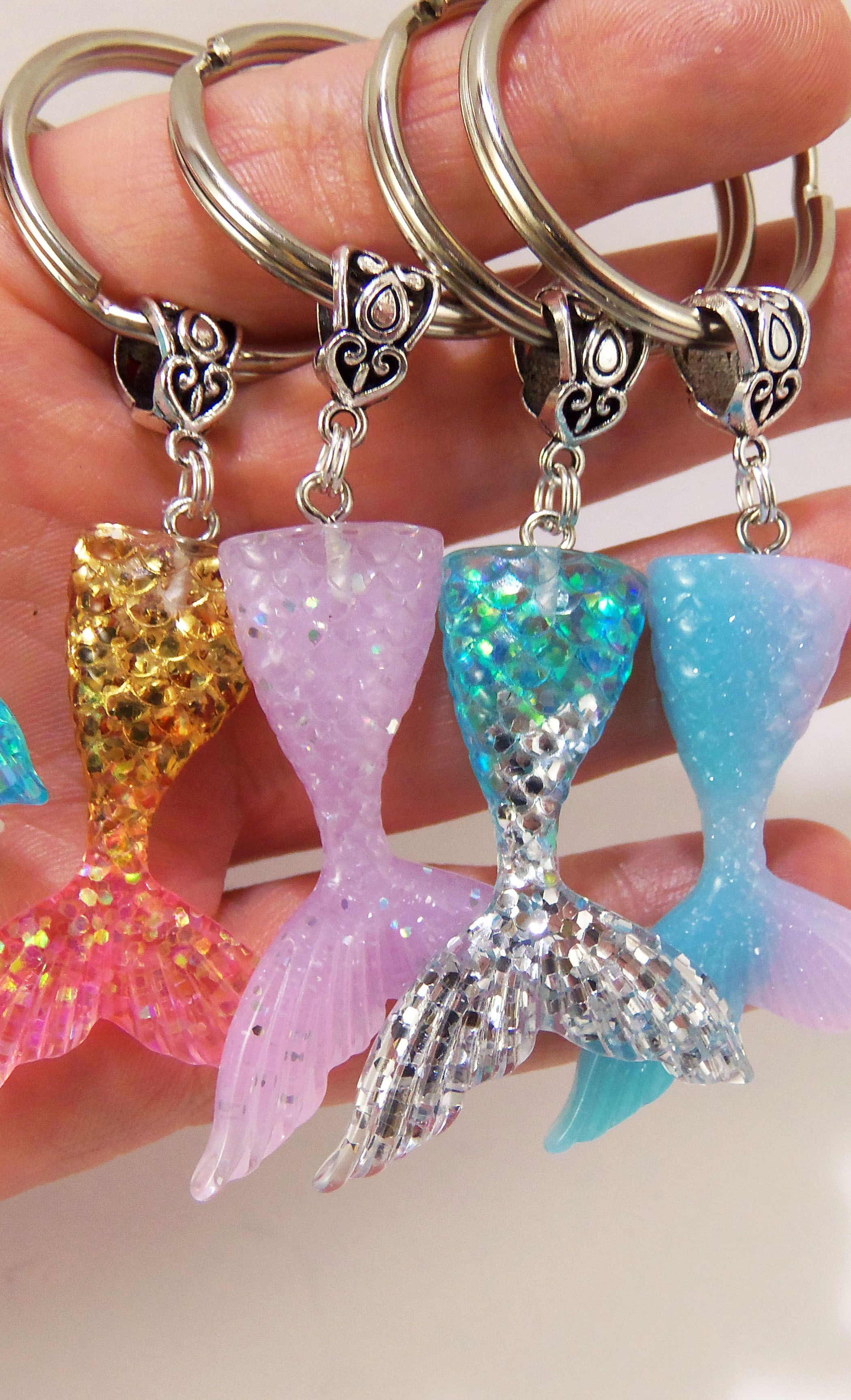 a8d52eb020 mermaid tail keychains in different sparkly colors | ♡ Pretty ...