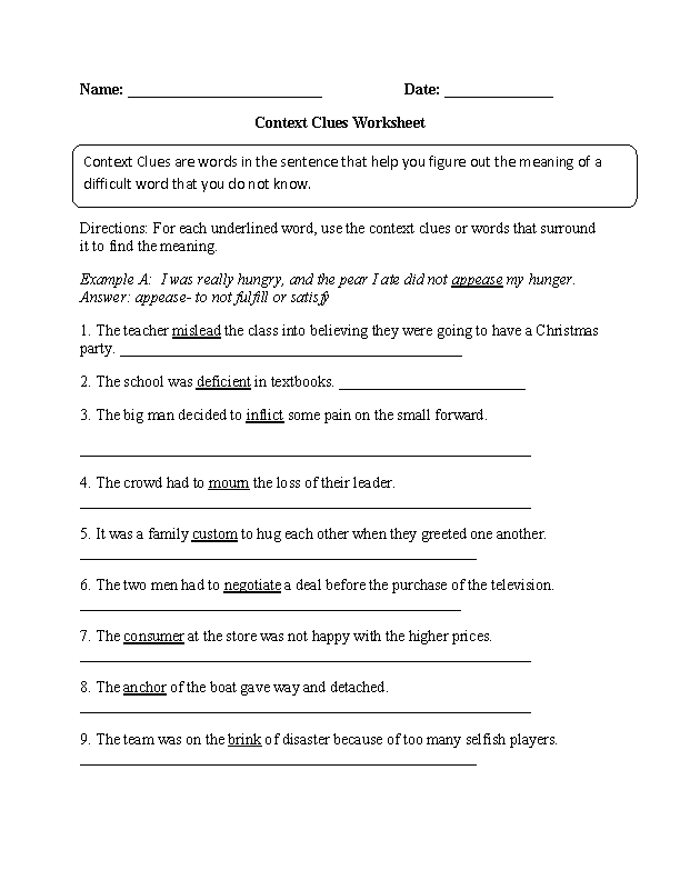 Englishlinx Com Context Clues Worksheets Englishlinx