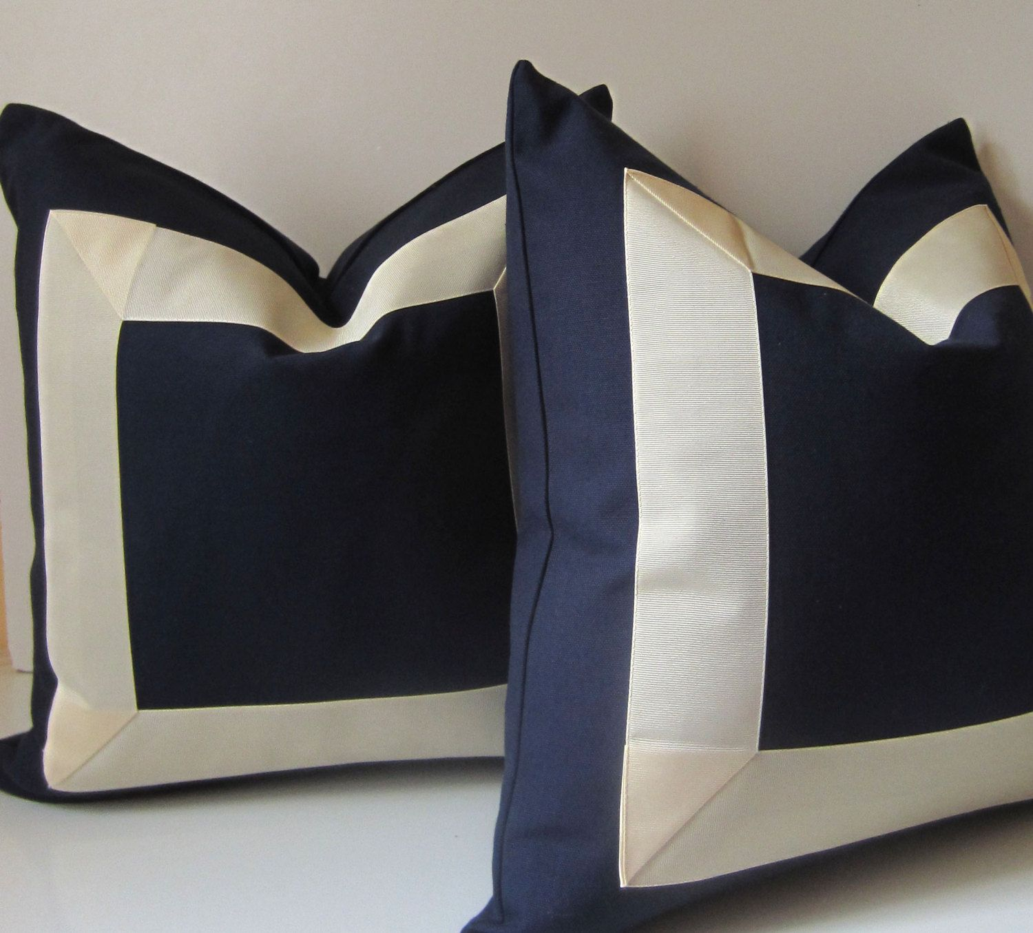 Set of two navy and cream pillows inch decorative