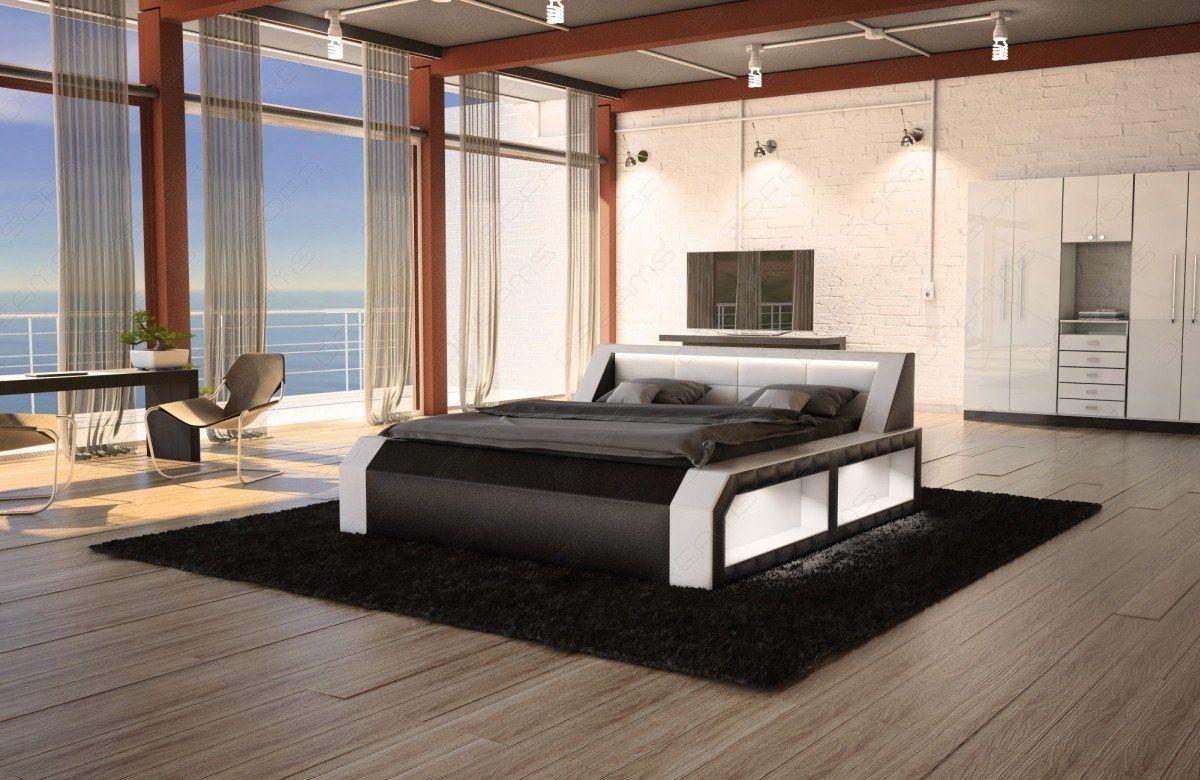 Designer Wasserbett Matera Weiss Schwarz Mit Led Beleuchtung Luxusschlafzimmer Designer Bett Luxus Boxspringbetten
