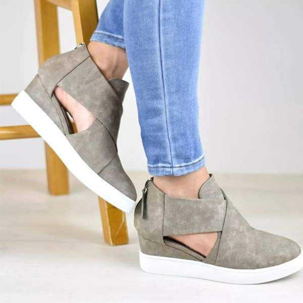 b61dcf0a7b7 Chellysun Criss-cross Cut-out Wedge Sneakers Fashion sneakers women s 2018  ideas casual wedges sneakers shoes for fall and winter  sneakers  shoes ...