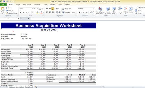 Free Template Business Acquisition Template For Excel