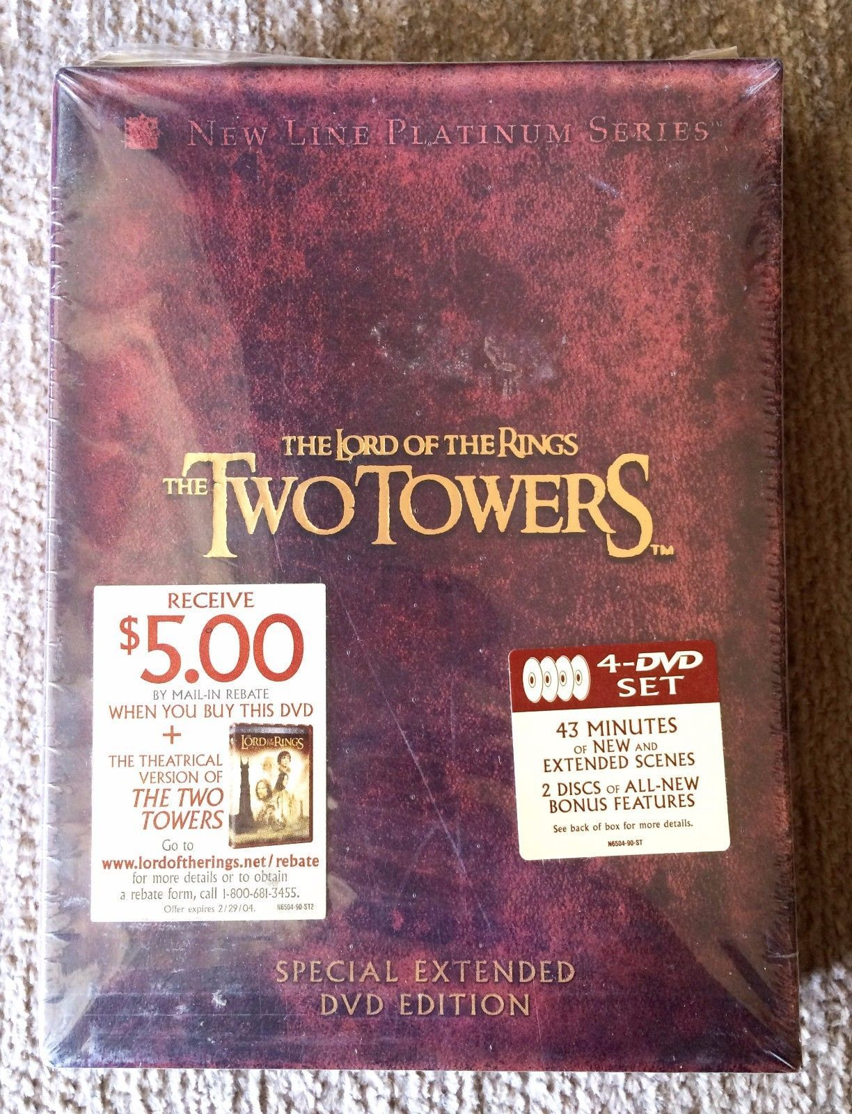 The Lord Of The Rings The Two Towers Special Extended Dvd Edition 4 Dvd Set With 43 Minutes Of New And Extended Scenes New Li The Two Towers Dvd Two By Two