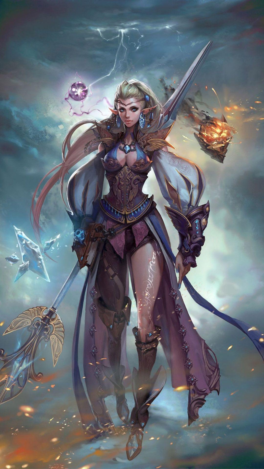 Elf warrior girl Mobile Wallpaper Elfe, Fantasy