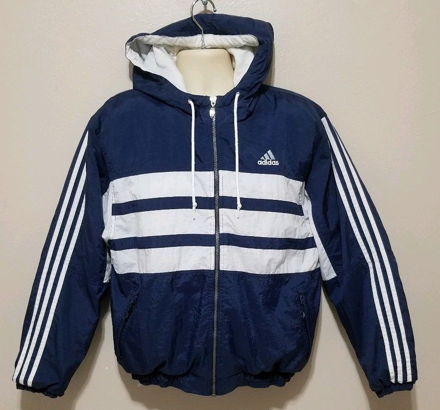 wholesale dealer 525b6 2098e Vintage Adidas Hooded Puffy Winter Jacket Small 3 Large Stripes Trefoil  Small  adidas  Puffy