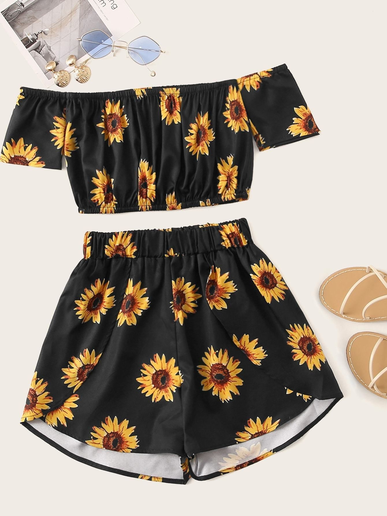 Black Floral Print Crop Top With Shorts Cs834613 Source By Cutespree Romwe Outfit In 2020 Tween Outfits Teenage Girl Outfits Girls Fashion Clothes