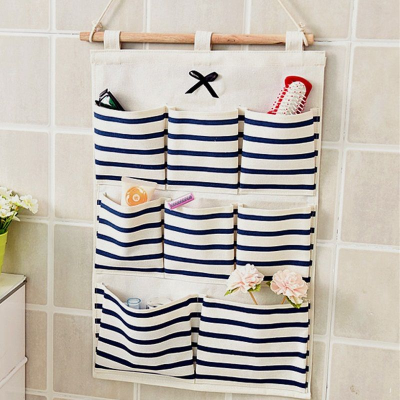 8 Pocket Cotton Linen Wall Hanging Organizer Container Save Space Storage Bag UK