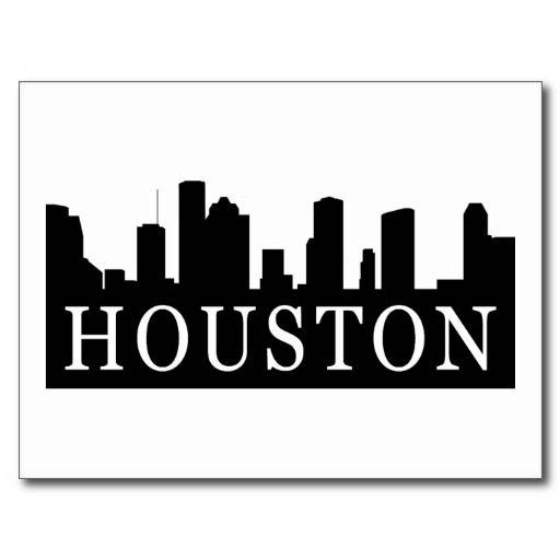 Houston Skyline Postcard Zazzle Com Houston Skyline Skyline Drawing Skyline Art