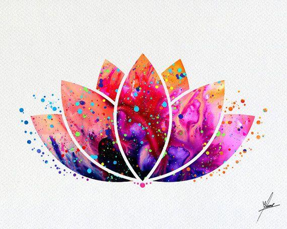 Lotus Flower Yoga Symbol Watercolor Illustrations Art Print Poster ... 87aeda69237a