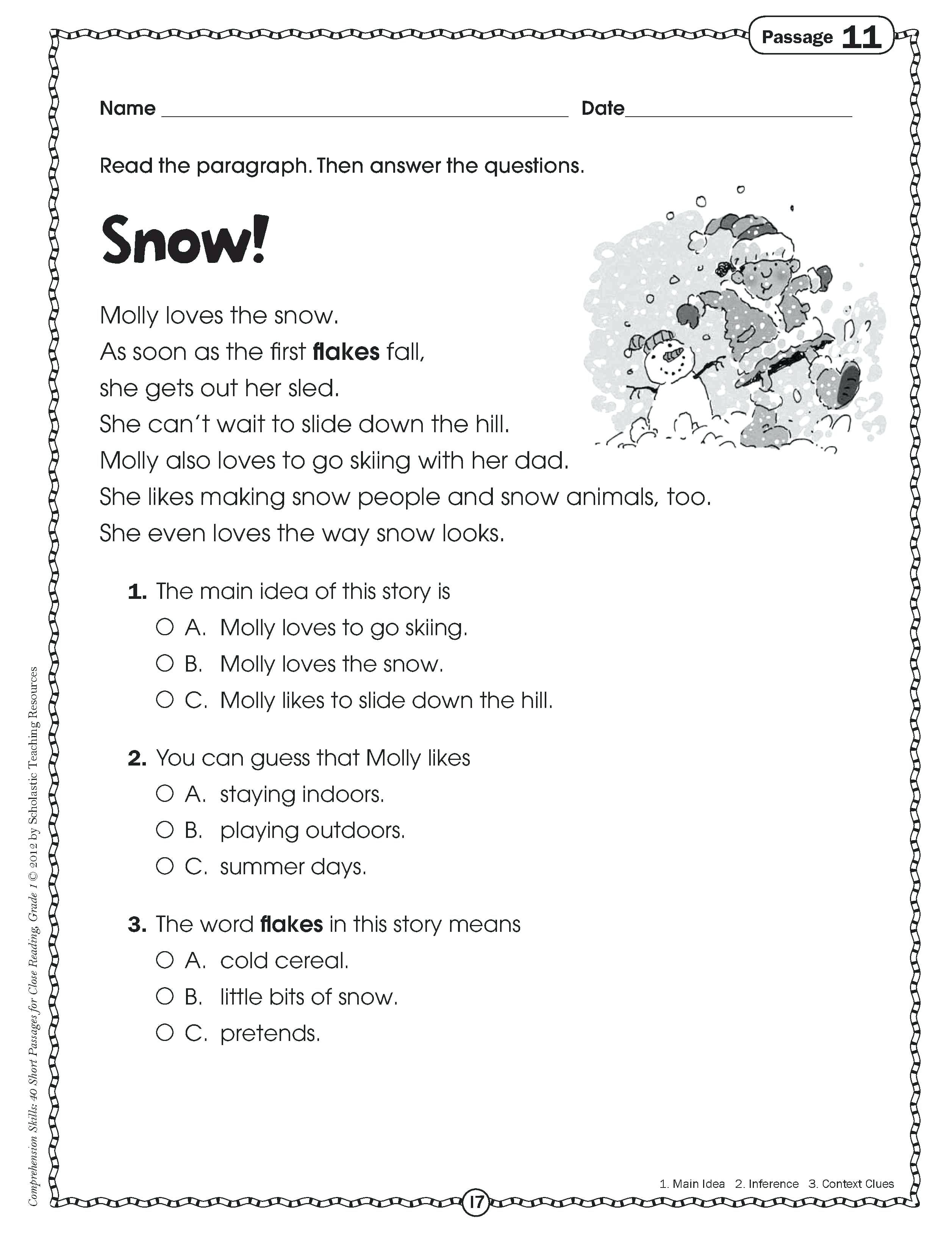 Worksheet For 2nd Grade Main Idea