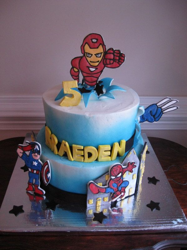 Marvel Hero Squad Cake With Spiderman Ironman Capt America And