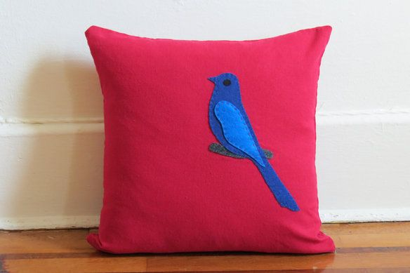 #Handmade Red linen #pillow with folk art http://bit.ly/1dD7fYQ