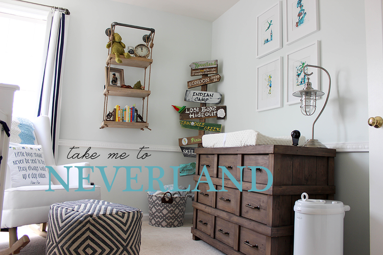 Like the dark with washed darker blue with teal. A small bird cage or lantern would make a good light (aka Tinker Bell's cell). Of course the Neverland sign is a must.