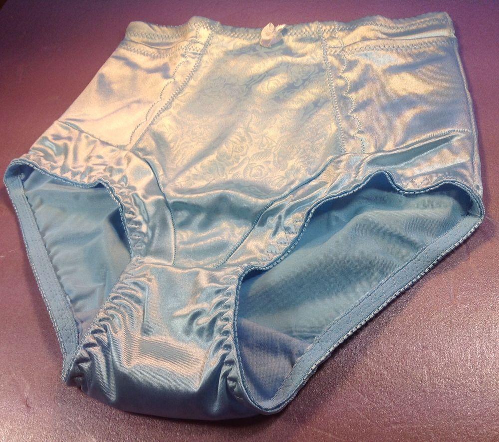 Women Panties,Briefs Bikinis size Large Blue Satin Floral W//decoration
