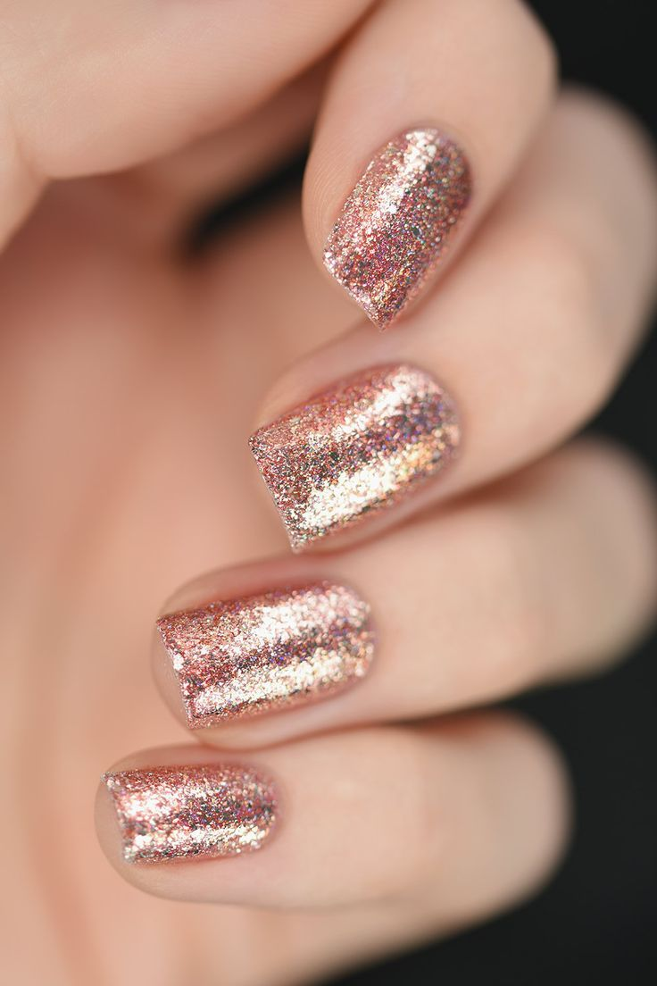 Juliette rose gold holographic nail polish nails pinterest