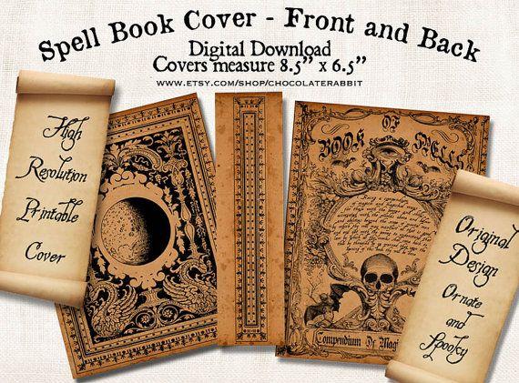 La bruja hechizo libro tapa Halloween descargar Digital imprimible imagen…
