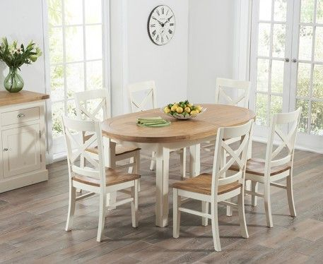 The Chelsea Oak Cream Extending Dining Table With