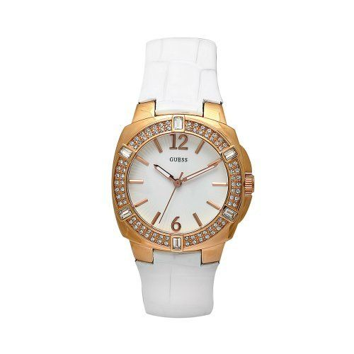 GUESS Women's W11558L1 Steel White Leather White Dial Watch GUESS. $199.40. goldtone stainless steel case; Crystal bezel. Japanese-Quartz movement; Scratch-resistant mineral crystal. Water-resistant to 99 feet (30 M). White leather strap; Crocodile print; Goldtone buckle. White dial; Goldtone hands and markers