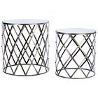 Premier Housewares Nest Of 2 Tables Brushed Champagne Mirrored