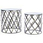 Buy Argos Home Matrix Nest Of 2 Glass Tables Black Nest Of