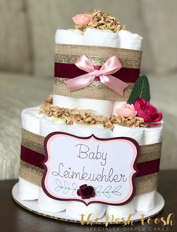 Burgundy Pink Floral Diaper Cake Baby Shower Centerpiece Decor